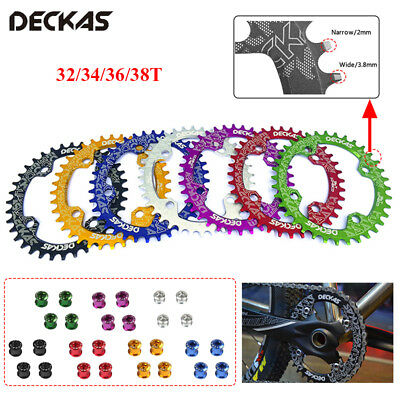 DECKAS 104bcd MTB Bike Round/Oval Chainring 32/34/36/38T Narrow Wide Chain ring