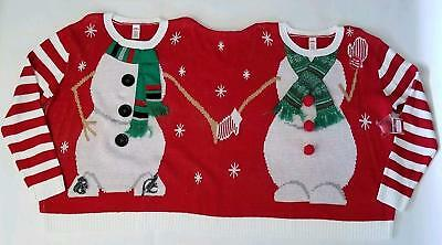 Holiday Time Double Sweater Ugly Christmas Two Person Santa Elf