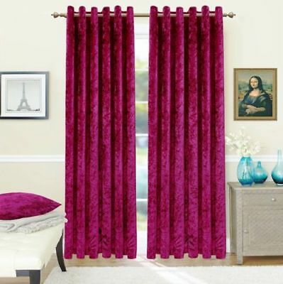 Luxury Crushed Velvet Eyelet Ring Top  Pair of Curtain Fully Lined Ready Made UK