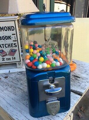 "Antique oak  One cent gumball machine with embossed glass Los Angeles ""rare"""