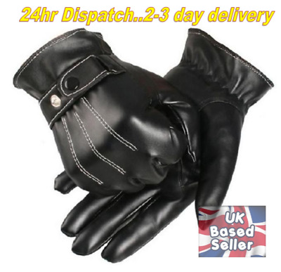 Mens Touch Screen Leather Gloves Thermal Lined Black Driving Winter Uk