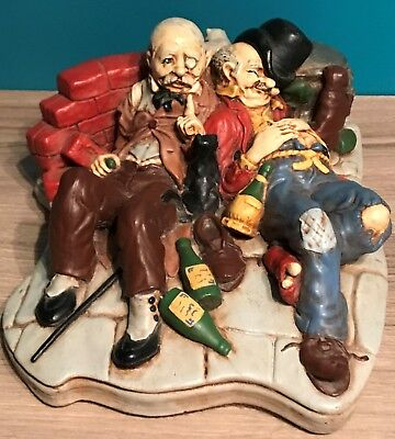 Vintage Chalkware Two Drunks Bums Drunk Men In The Alley Statue Figurine RARE