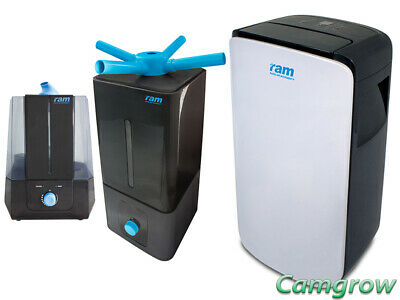 RAM 10L Dehumidifier & RAM Humidifier 5L & 13L For Grow Room Hydroponics