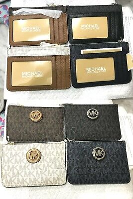 68b951553bd60 Michael Kors Signature Fulton Small Top Zip Coin pouch W  ID Keyring Wallet   98