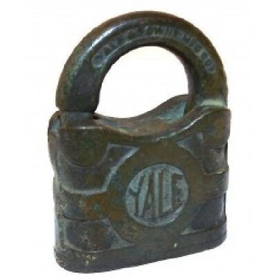 Antique Vintage Yale & Towne Brass Padlock - No Key