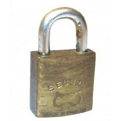 Vintage Secure Brand Made in England Brass Padlock Lock - No Key