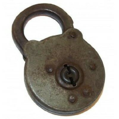 Vintage Unsigned Round Steel Padlock - No Key