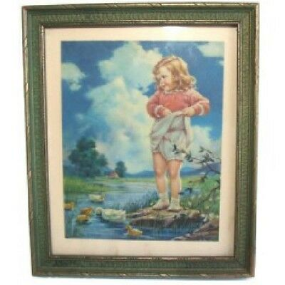 1930's Art Deco Pressed Wood Polychrome Picture Frame w/ Little Girl Print