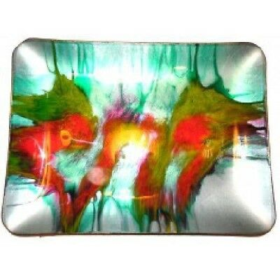Vintage Mid-Century Abstract Splatter Art Glass Seetusee Tray by Mayfair