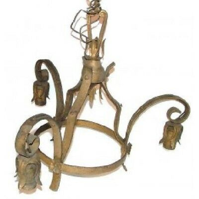 Gilded Wrought Iron Gothic Three Bulb Chandelier