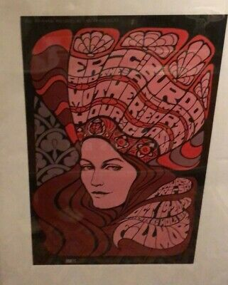 Allman Brothers HOURGLASS POSTER SIGNED by BILL GRAHAMS WIFE, Tickets handbill