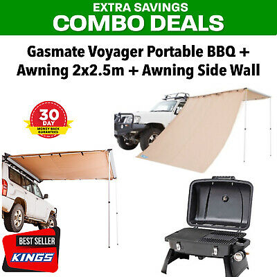 Gasmate Voyager Portable BBQ + Adventure Kings Awning 2x2.5m + Side Wall