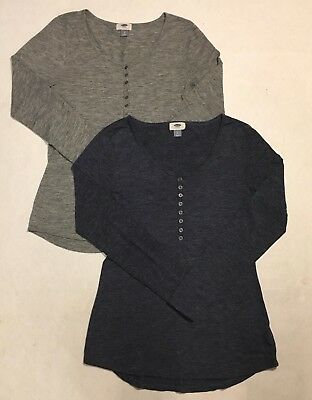 Old Navy Womens Button Up Stretchy Shirts Size Small Pair Of Two Dark Light Grey