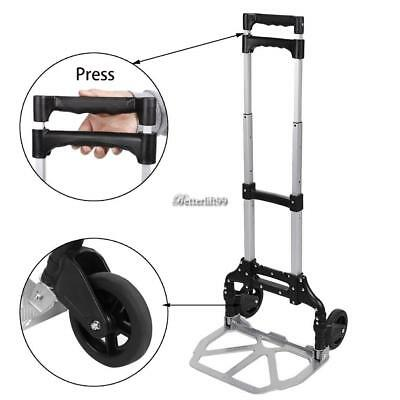 Cart Folding Hand Truck Dolly Push Collapsible Trolley Luggage Aluminium US