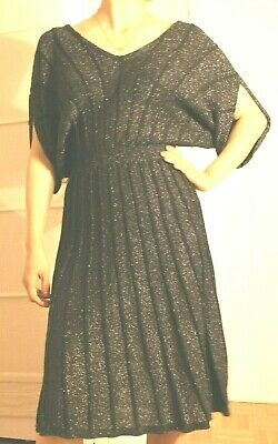 04ad9c7efacb6 Anthropologie Knitted and Knotted Metallic Black Sweater Dress w/ Cape  Sleeves