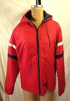 Vintage Walls Blizzard Pruf Red Hooded  Puffer Jacket With Sleeve Stripes Med/t