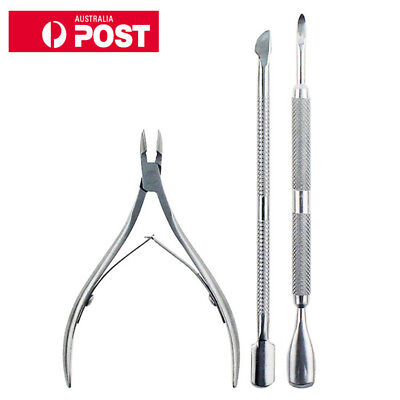 3PCS Nail Tools Cuticle Cutter Stainless Steel Spoon Pusher Clipper Trimmer Set