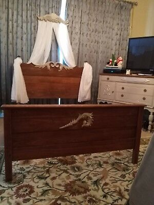 Refinished Double Full Bed--Headboard, Footboard, Rails & Swag--ONE OF A KIND!