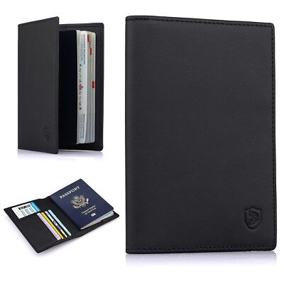 RFID Blocking Leather Travel Passport Holder, Bifold Wallet For Men And Women
