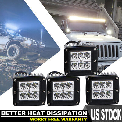 "4X 4"" 18W Square LED Work Light Spot Offroad 4WD Truck Driving Cube Pods Lamps"