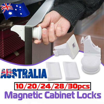 30PCS Magnetic No Drilling Cabinet Drawer Cupboard Lock Baby Kids Safety Locks !