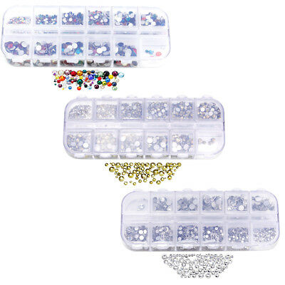 1728pcs Nail Art Rhinestones Glitter Diamond Crystal Gems 3D Tips DIY Decoration