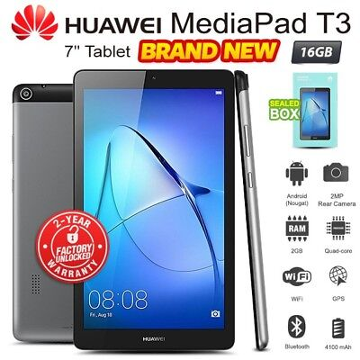 """New Factory Unlocked HUAWEI Mediapad T3 7"""" Grey 16GB Android PC Tablet (WiFi+3G)"""