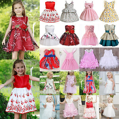 Girls Wedding Party Dress Ruffled Party Casual Skater Tunic Dresses Gown Prom