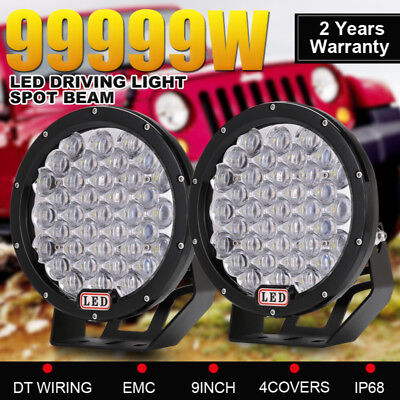 99999W Pair 9inch CREE Round LED Driving Lights Spot Work Lights Offroad SUV 4WD