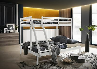 Solid Timber Triple Bunk Bed Single over Double Two Frames In One 195x141x150cm