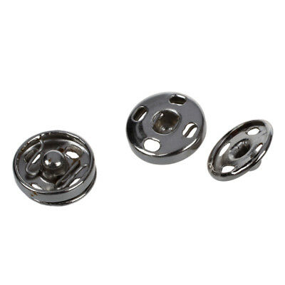 Clothes Sewing 10mm Press Studs Buttons Fastener Silver Tone 50 pcs Q7P1