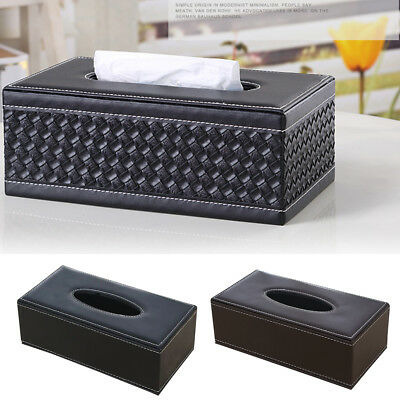 Modern Faux Leather Home Room Tissue Box Cover Paper Napkin Holder Storage Case