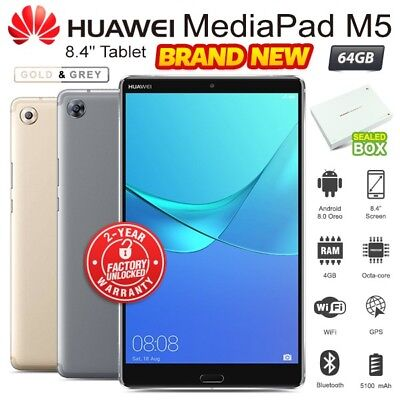 """New Unlocked HUAWEI Mediapad M5 8.4"""" Grey Gold 64GB Android PC Tablet (WiFi+4G)"""