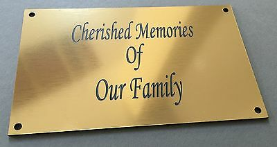 BP62 OUR FAMILY Park Bench Seat ABS Engraved Brass Plaque Sign Grave Marker