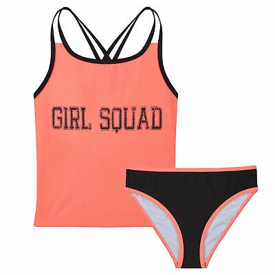 Girls Tankini Swimming Costume Swimsuit Two Piece Crop Top Holiday Bathing Suit