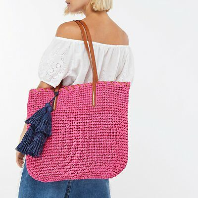 Accessorize Monsoon Pink Straw Beach Shopping Holiday Ladies Tote Bag New