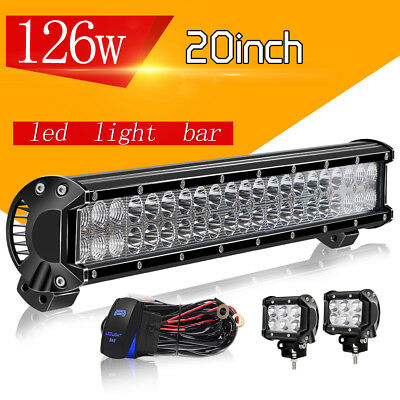 """20"""" LED Light Bar 126W Spot Flood Combo+4"""" Pods Wiring For Ford SUV 4WD Jeep UTE"""