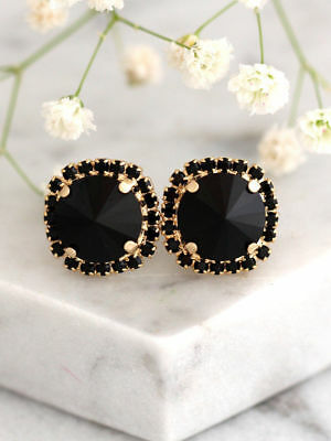 2 Ct Black Round Cut Diamond Halo Stud Earrings in Solid 925 Sterling Silver