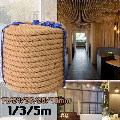 Jute Rope 14/26/28/40MM Burlap Twine Thick Natural Hemp Cord String 1/3/5M Home