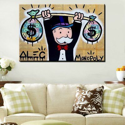 "Alec monopoly Handcraft Oil Painting on Canvas,""Heavy Weight Dollar"" 24×36"""