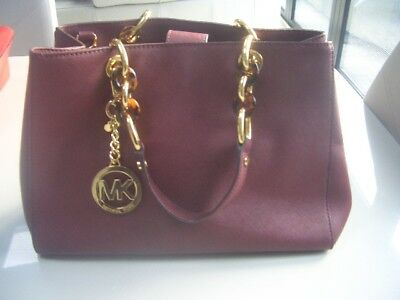 Michael Kors Cynthia Wine Burgundy Bag Handbag Used Once Rrp £350