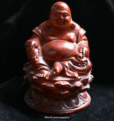 17cm China Natural red Jujube wood hand carved Maitreya Statue Sculpture AIQO