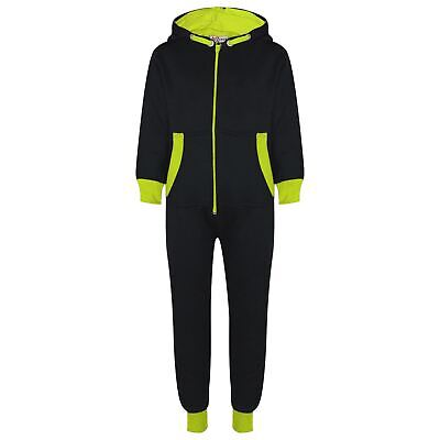 Kids Girls Boys Fleece Contrast A2Z Onesie One Piece Green All In One Jumpsuits
