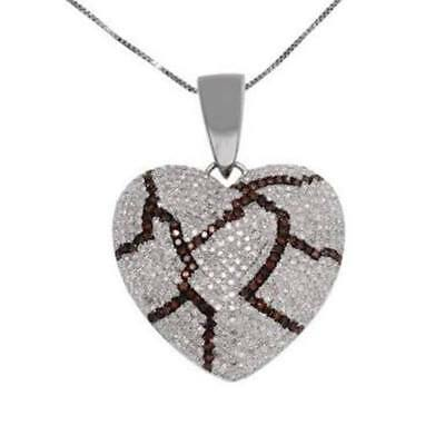 925 Beautiful Pendant Heart Shaped Diamond Pendant Love Solid Sterling Silver