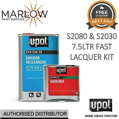 U-Pol S2080 Clear Coat Lacquer Hs 2K 7.5Ltr Kit  - With S2030 Fast Hardener Upol