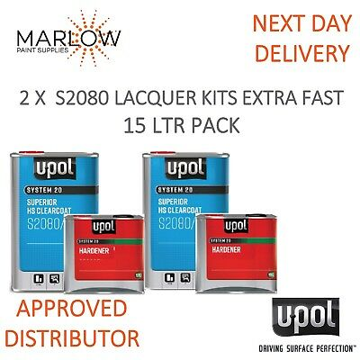 U-Pol 2080 Clear Coat Lacquer Hs 2K With 2031 Extra Fast Hardener Upol- 15L Kit