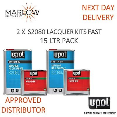 2 X U-Pol S2080 Clear Coat Lacquer Hs 2K With 2030 Fast Hardener Upol- 15Ltr Kit