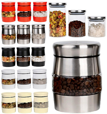 Set Of 3 Tea Coffee Sugar Jar Kitchen Canister Window Glass Storage Jar Tin Set