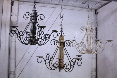 "23"" Wrought Iron Wood Turned Chandelier in 3 Colors Candelabra Lighting"