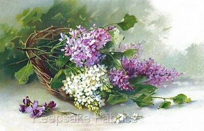 Lilacs Spilling From Basket Quilt Block Multi Sizes FrEE ShiPPinG WoRld WiDE